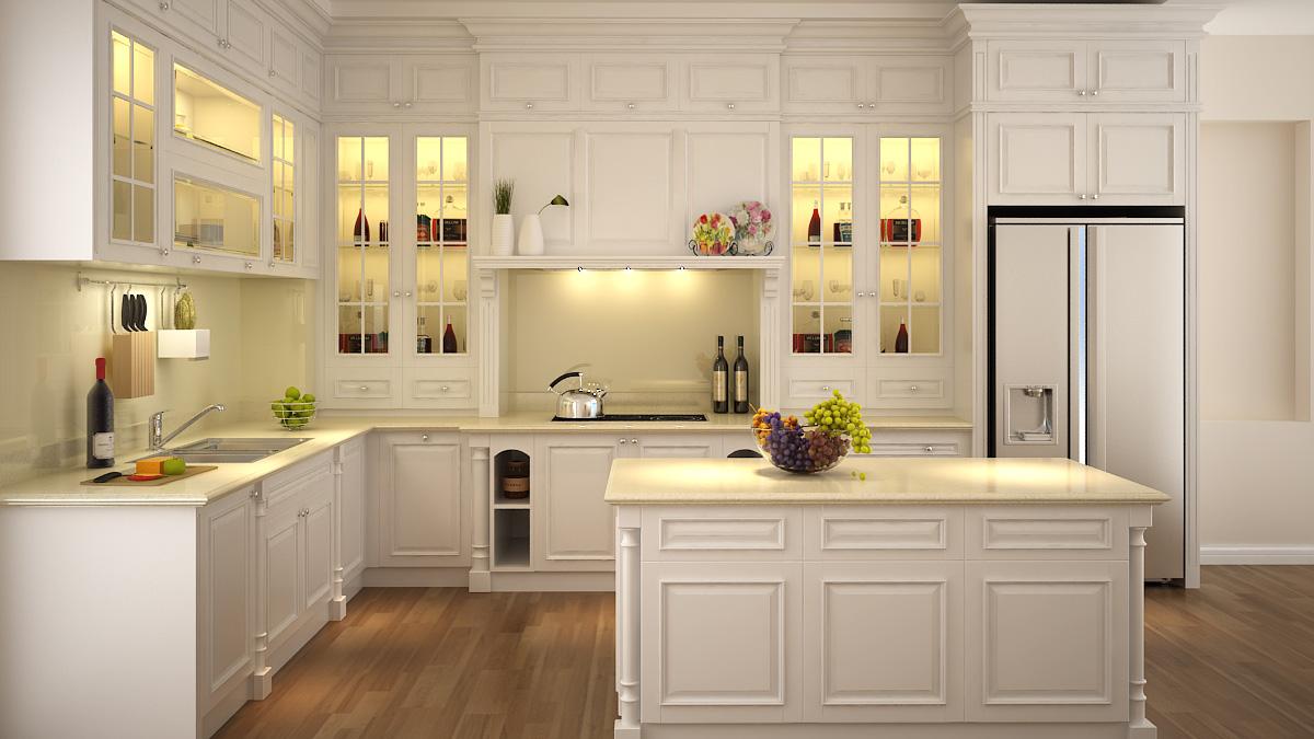 gia chủ không nên sử dụng vật liệu kính trong suốt để làm cửa phòng bếp