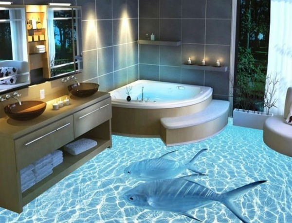 Nhà tắm với thiết kế sàn 3D độc đáo