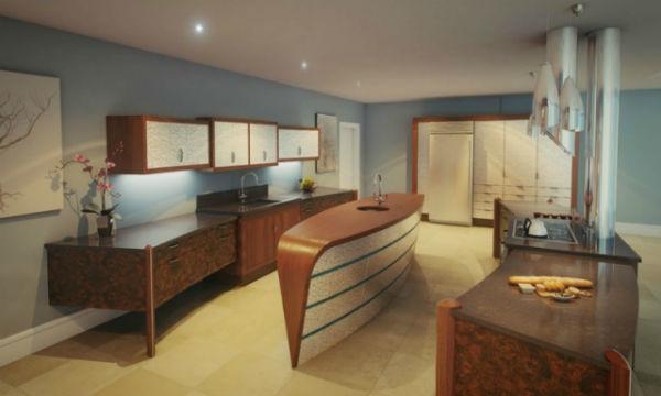 Thiết kế bàn bếp có hình con tàu