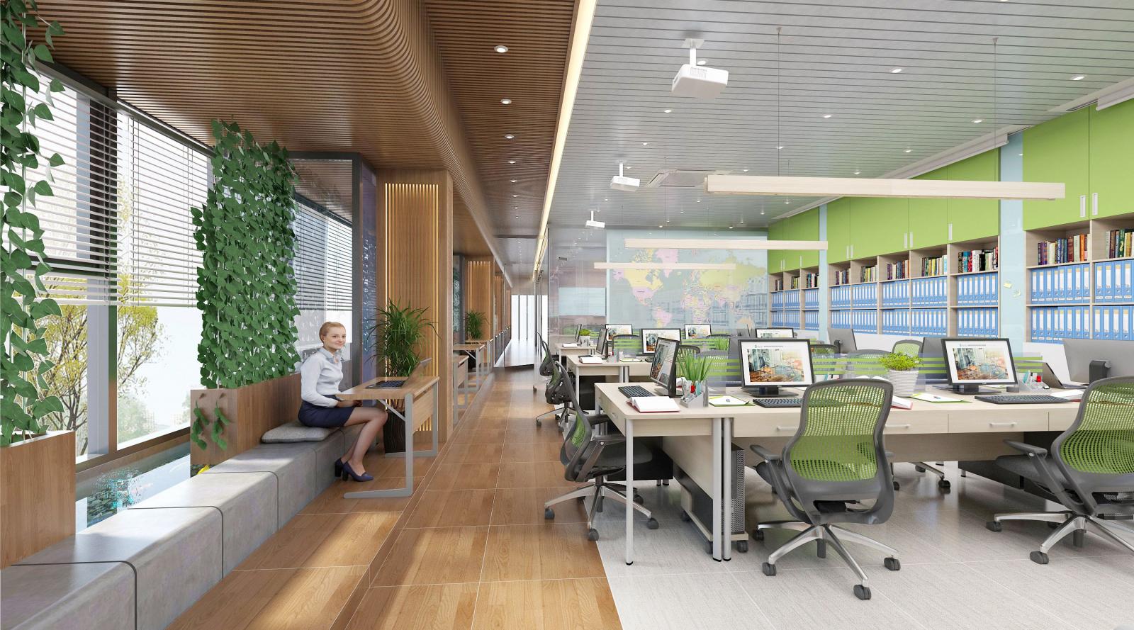 Thiết kế nội thất văn phòng với cây xanh để tạo không khi tươi mát cho văn phòng