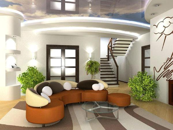 Phòng khách được trang trí bởi cây xanh mạng lại không gian tươi mát