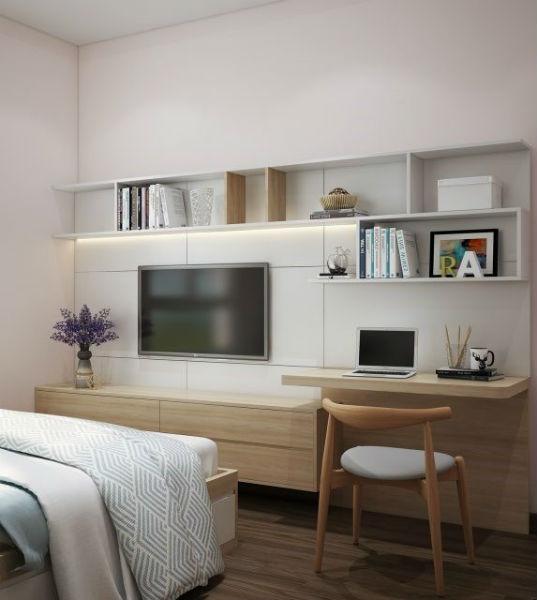 Kê giường sát với mép góc để tiết kiệm không gian phòng