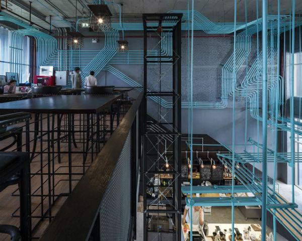 Trang trí quán theo phong cách công nghiệp