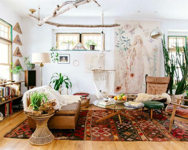 Trang trí phòng khách độc lạ theo phong cách Bohemian – phóng khoáng, tự do