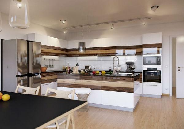 Thiết kế ánh sáng độc đáo giúp gian bếp đẹp hơn