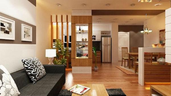 Thiết kế phòng khách và phòng bếp liền kề tiết kiệm không gian