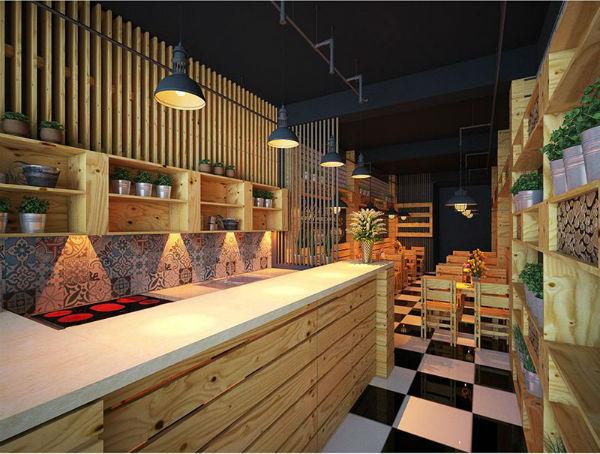 Mẹo vặt trang trí nội thất quán café với quầy bar ở vị trí thuận tiện