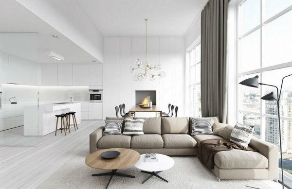 Phòng khách với thiết kế có cửa sổ giúp không gian thoáng hơn