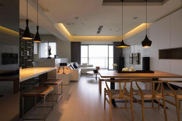 Thiết kế phòng khách gắn liền với phòng ăn