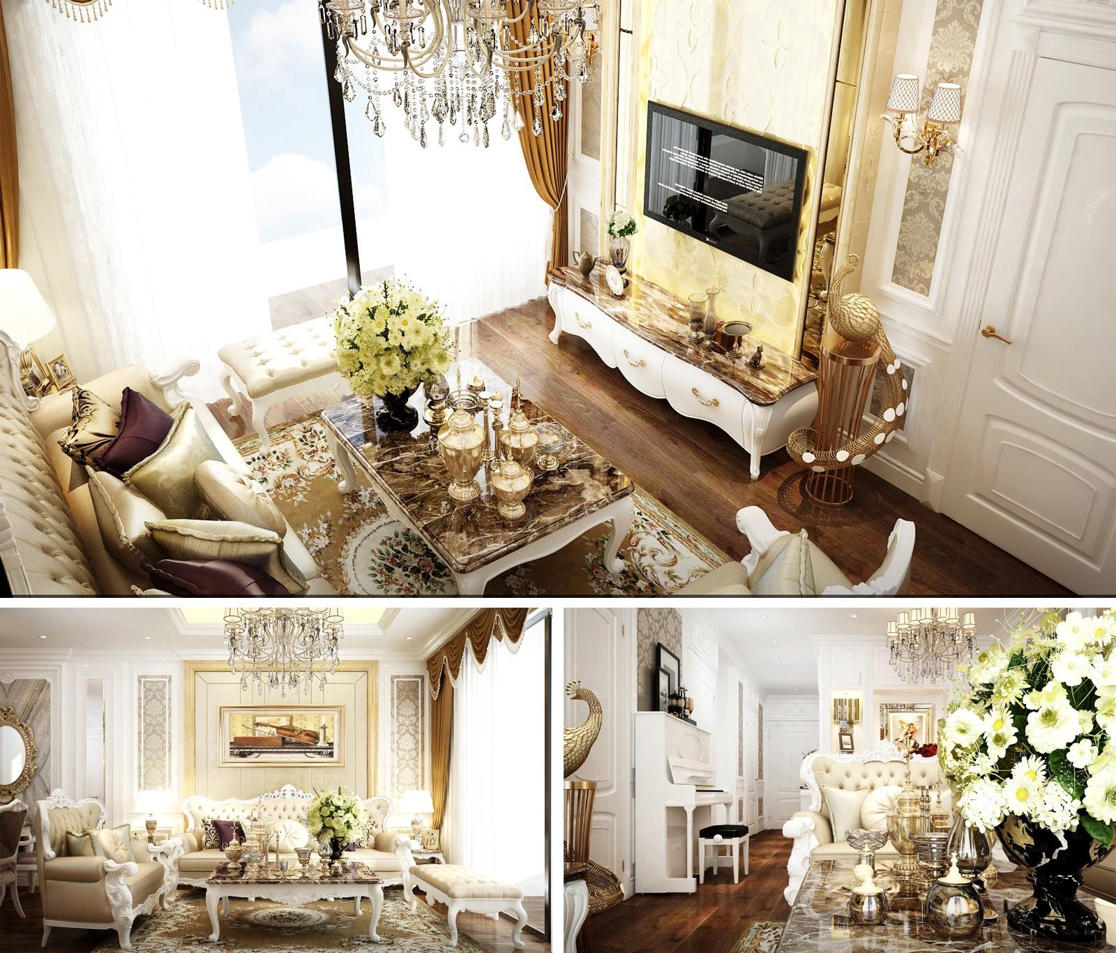 Thiết kế không gian phòng khách với gam màu sáng