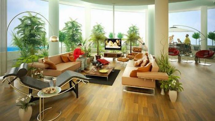 Phòng khách gần gũi với thiên nhiên