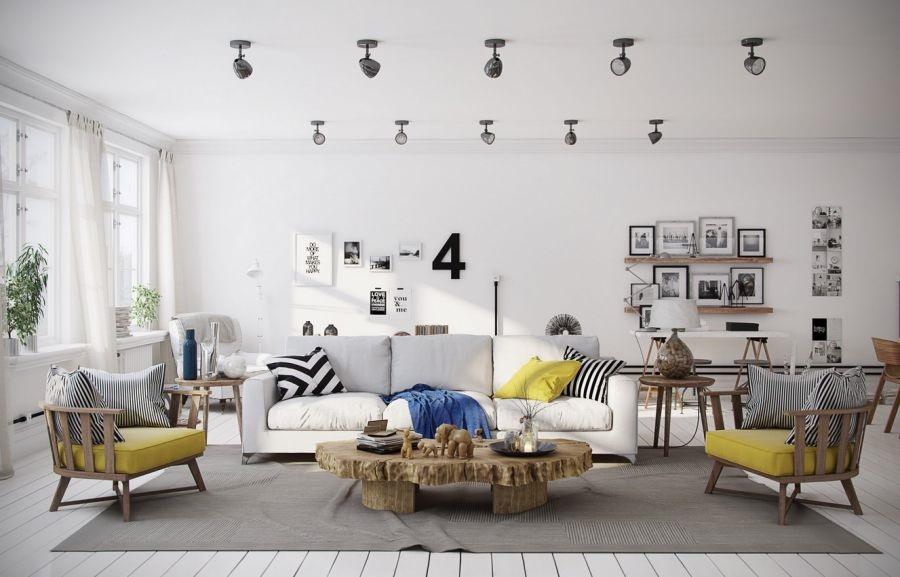 Phòng khách ấn tượng với màu sắc Scandinavian