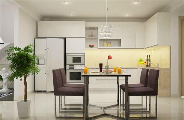 Phòng bếp sử dụng chất liệu chính là gỗ