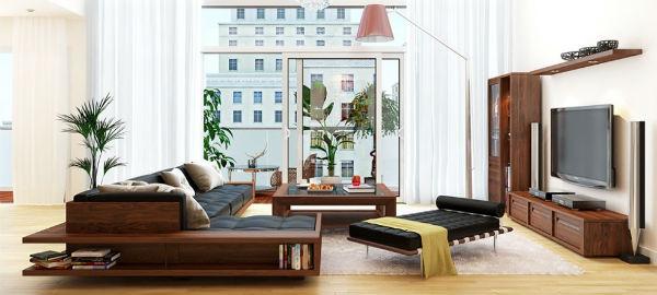 Thiết kế nội thất phòng khách bằng gỗ