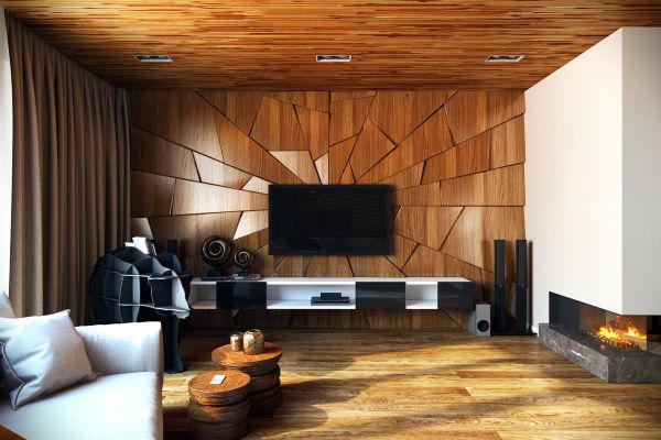 Trang trí phòng khách với gỗ cắt tạo khối trên tường