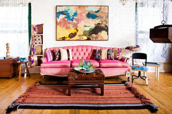 Trang trí với ghế sofa màu hồng dễ thương