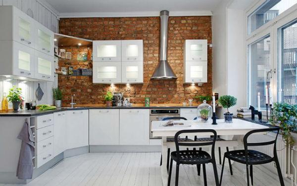 Nhà bếp làm từ gạch nung