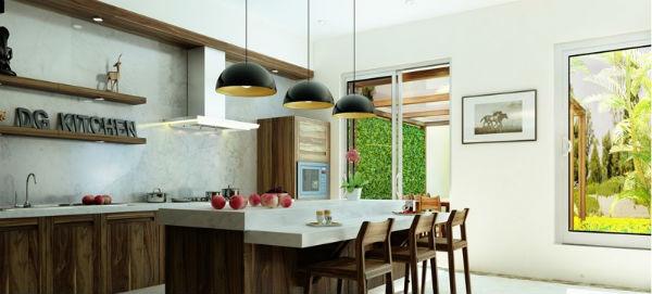 Hoa quả đa sắc màu làm cho không gian bếp trở nên nổi bật hơn.