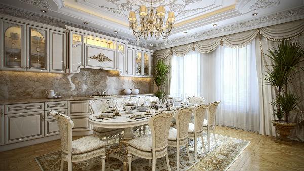 Phòng ăn được thiết kế đậm chất phương Tây