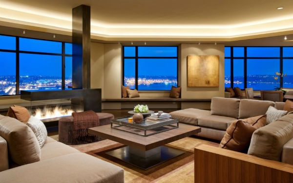Nội thất phòng khách bằng gỗ sang trọng