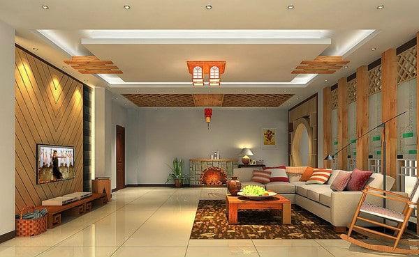 Trần nhà được thiết kế tinh xảo tạo điểm nhấn cho căn phòng