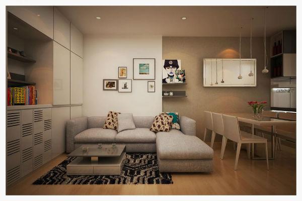 Trang trí phòng khách tối giản với bộ sofa