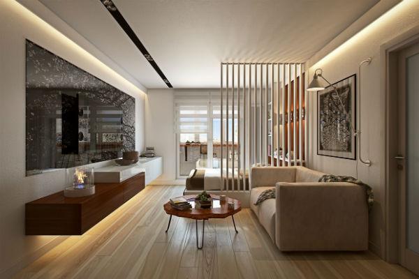 Sử dụng nội thất đơn giản giúp tiết kiệm không gian cho phòng khách