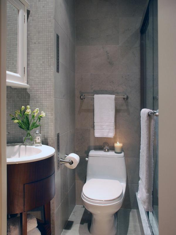 Nhà vệ sinh nhỏ hẹp nên trang trí đơn giản