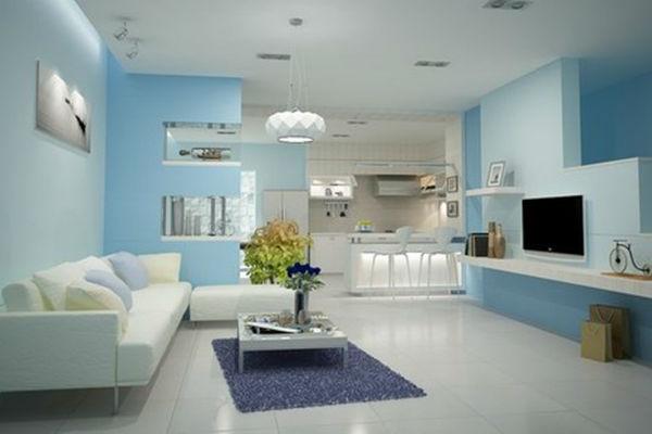 Phòng khách màu xanh dương được trang trí đơn giản