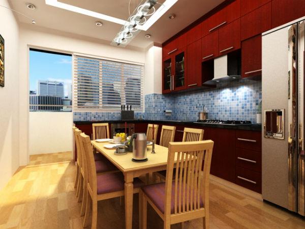 Phòng bếp có bàn ăn cho bữa cơm gia đình thêm ấm cúng