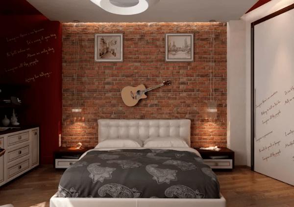 Trang trí phòng ngủ với tường bằng gạch thô phổ biến ở Châu Mỹ